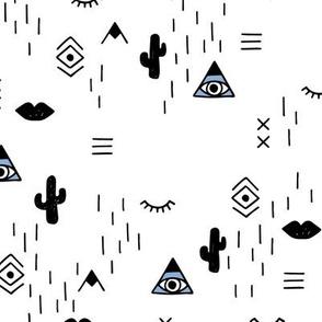 Sweet modern boho tribal indian summer ethnic  pop print black and white boys blue LARGE