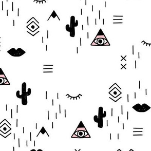 Sweet modern boho tribal indian summer ethnic  pop print black and white pink monochrome girls