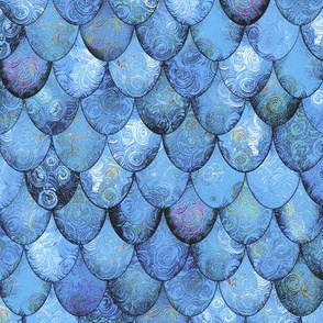 Silver Blues in Mermaid or Dragon Scales by Su_G_©SuSchaefer