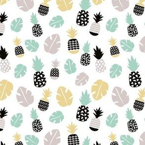 Pastel tropical hawaiian summer sweet kawaii palm leaf pineapple fruit monstera leaf for girls