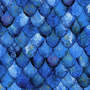 Deep Blues in Mermaid or Dragon Scales by Su_G_©SuSchaefer