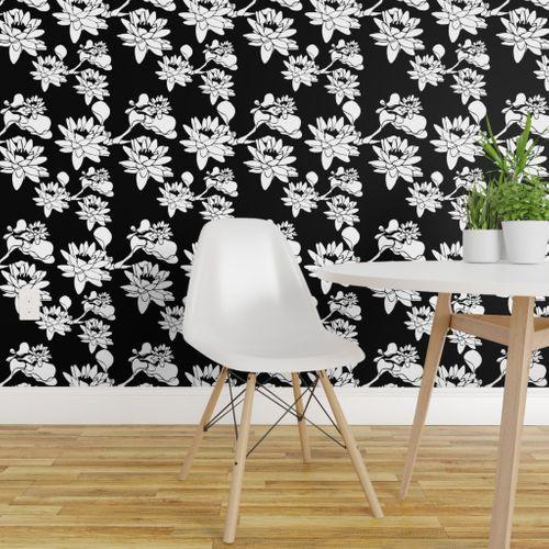 Wallpaper Water Lily Print White Black Ch