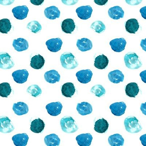 Watercolor turquoise polka dot