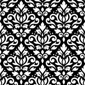 Scroll Damask Pattern White on Black