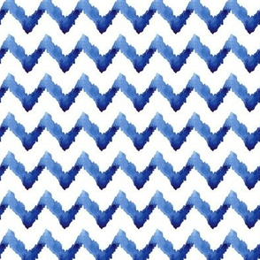 17-10X Blue Chevron Ikat Watercolor Indigo Boho Blue White Tribal_Miss Chiff Designs