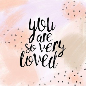 """8"""" quilt block - you are so very loved - peach"""