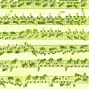 Bach's handwritten sheet music - seamless, hiking greens