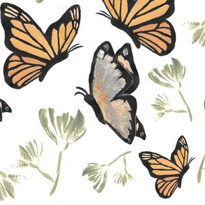 Watercolor Butterfly Painting (Orange, Silver, Green)