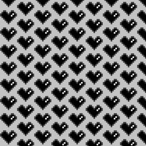 Pixel Heart (Black on Grey, 0.95 inch)