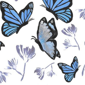 Watercolor Butterfly Painting (Blue, Violet)