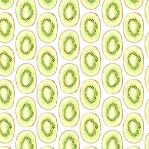 Watercolor Kiwi Fruit Summer Garden Food Green Lime Stripe_Miss Chiff Designs