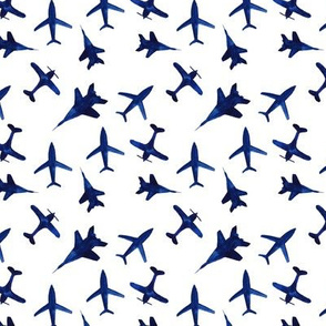 Watercolor airplanes in blue