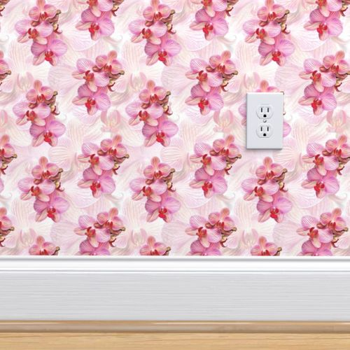 Wallpaper Pink Orchid Painted