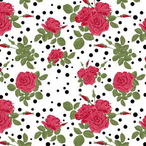 Red roses on a white background with black polka dots .