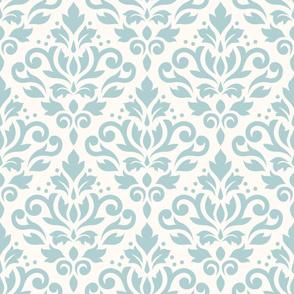 Scroll Damask Pattern Blue on Cream