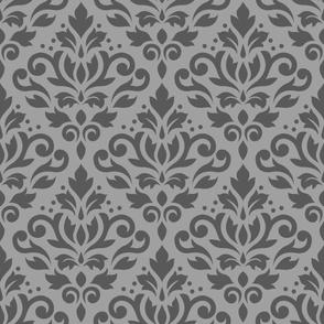 Scroll Damask Pattern Mid on Lt Gray