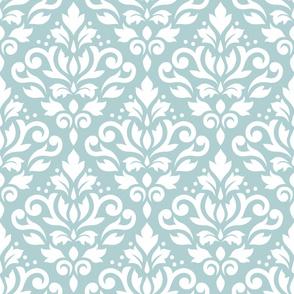 Scroll Damask Pattern White on Blue