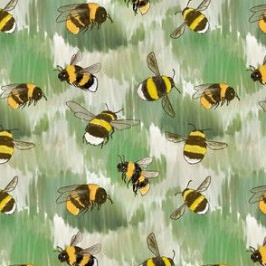 Bumblebees in Watercolor