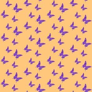 Small butterflies, purple on orange || shirt top blouse shorty night gown woman dress fun trendy man men little girl women woman