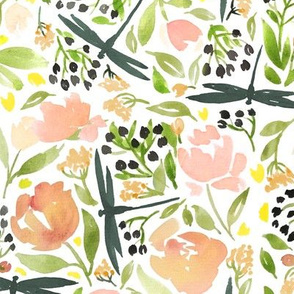 Dragonflies and tea roses