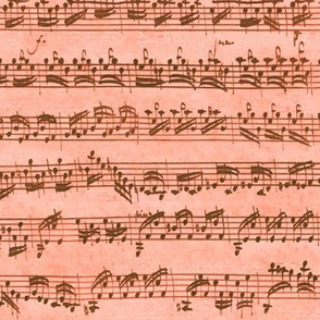 Bach's handwritten sheet music - seamless, coral and bronze