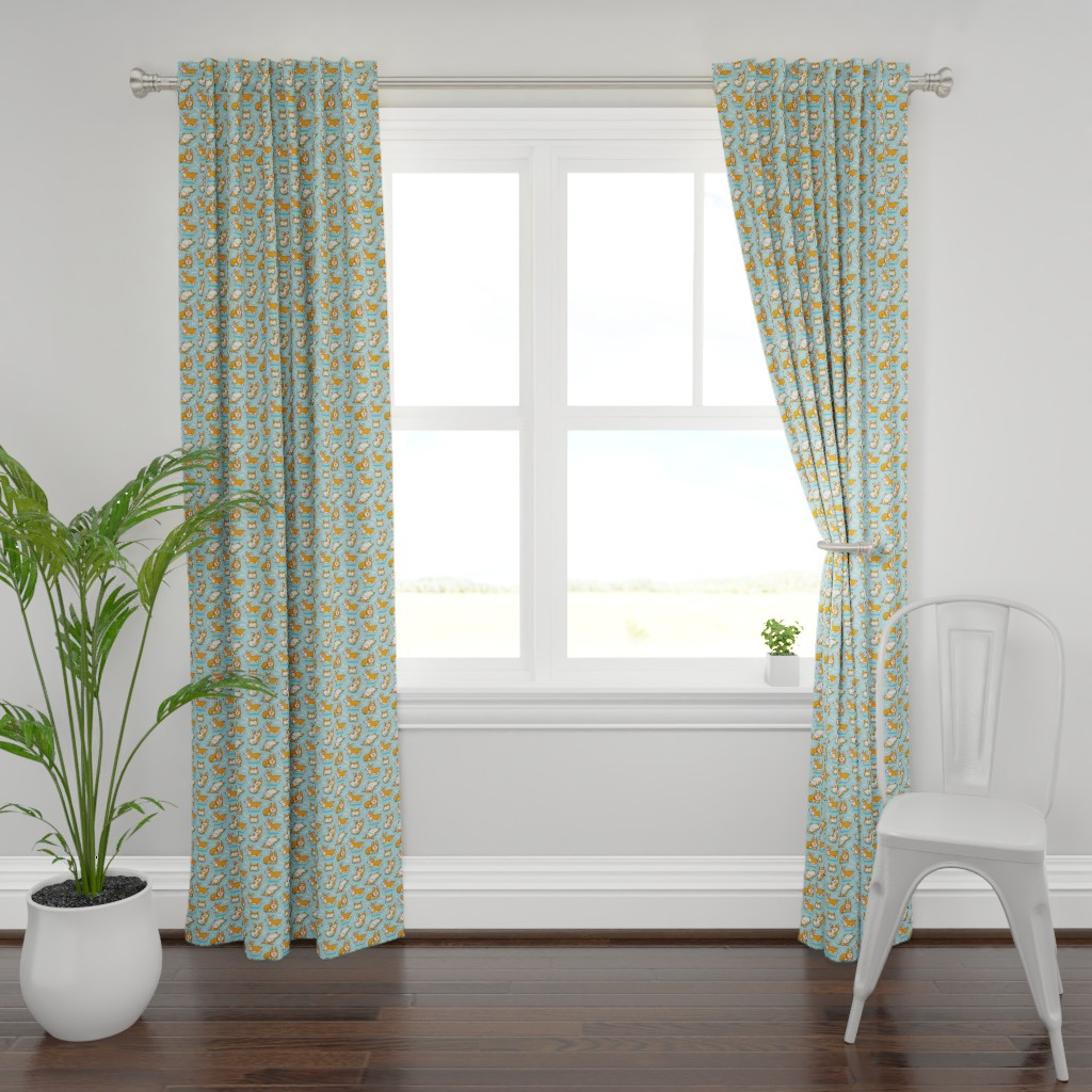 Plymouth Curtain Panel featuring Corgi by penguinhouse