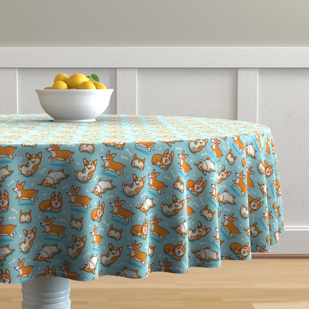 Malay Round Tablecloth featuring Corgi by penguinhouse