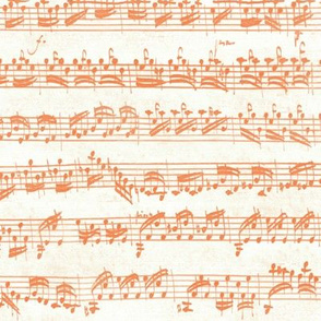 Bach's handwritten sheet music - seamless, orange and white