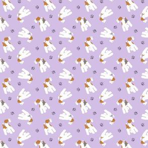 Tiny Wire Fox Terriers - purple