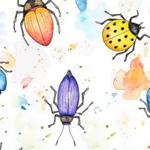 Whimsical Watercolour Beetles