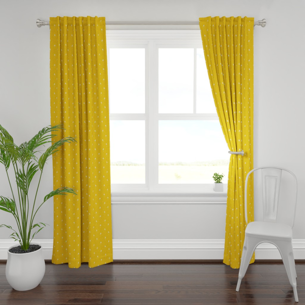 Plymouth Curtain Panel featuring Flamingos on mustard yellow by colettegorgas