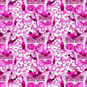 Pink Butterfly Fairies on White