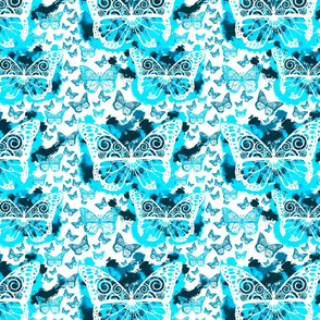 Blue Butterfly Fairies on White