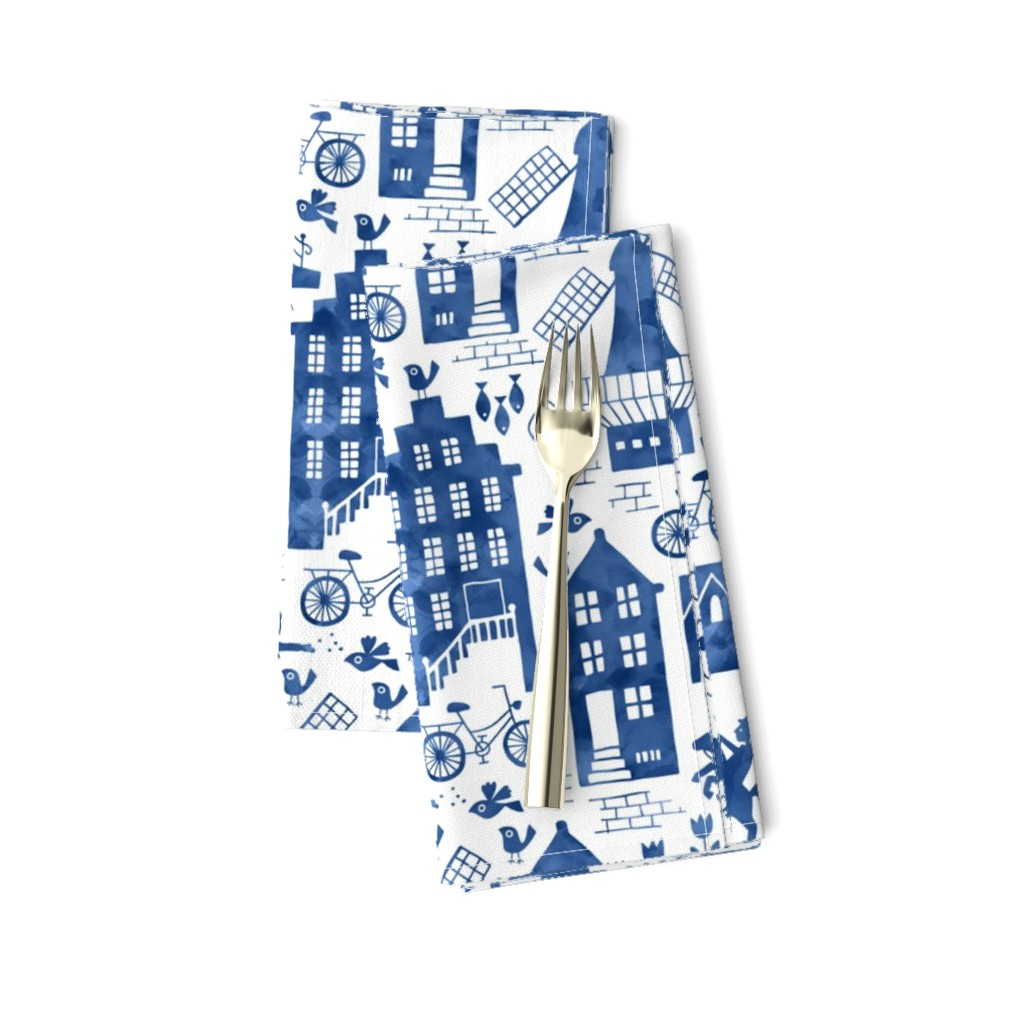 Amarela Dinner Napkins featuring Holland in royal Delft blue watercolors by heleen_vd_thillart
