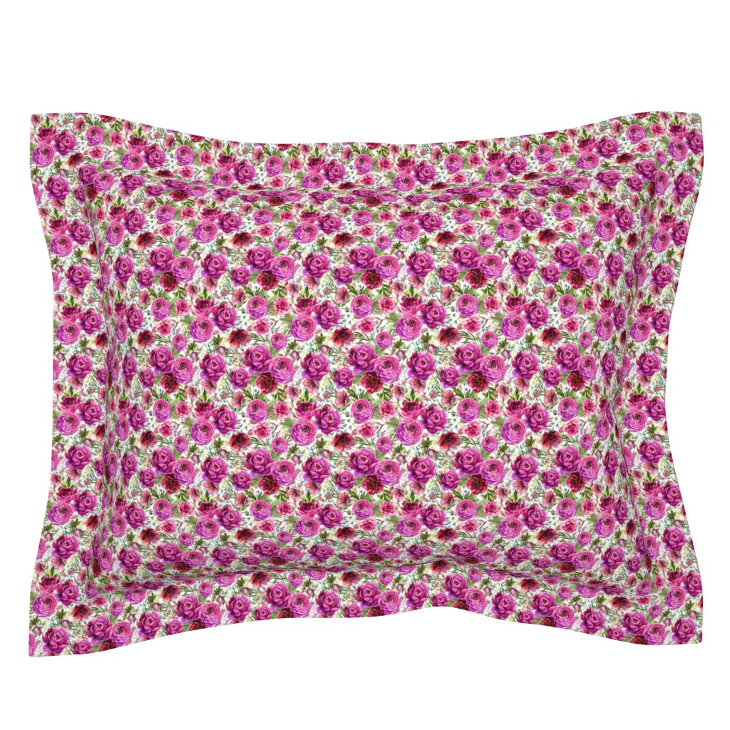 """Sebright Pillow Sham featuring 4"""" Warrior Florals / White by shopcabin"""