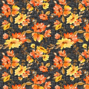 Watercolor red and yellow flowers on linen black background (small)