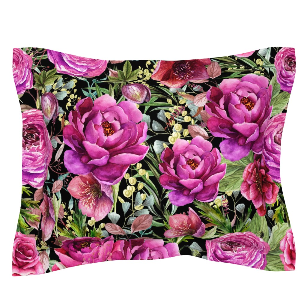 "Sebright Pillow Sham featuring 30"" Warrior Florals / Black by shopcabin"