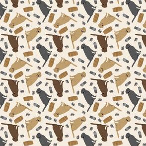 Tiny Labrador Retrievers - barn hunting