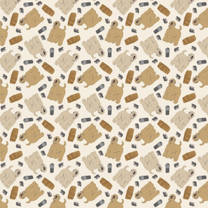 Tiny Wheaten Terrier - barn hunting