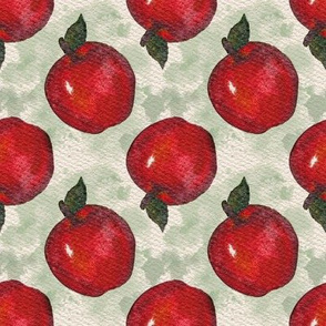 Red Apples With Green Watercolor