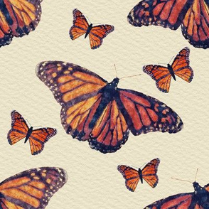 Monarch Butterflies With Watercolor Texture