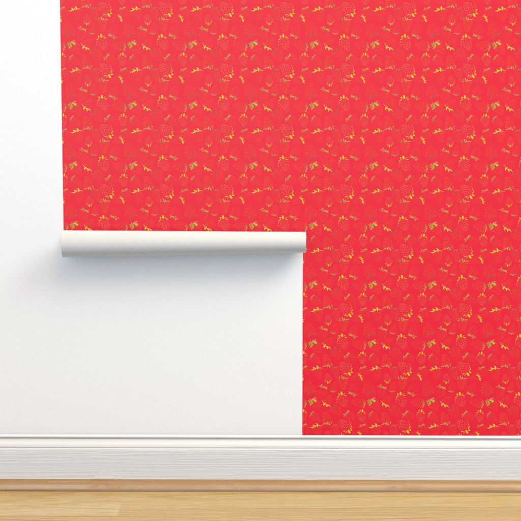 Isobar Durable Wallpaper featuring Fun Summer Strawberries by ms_hey_textildesign