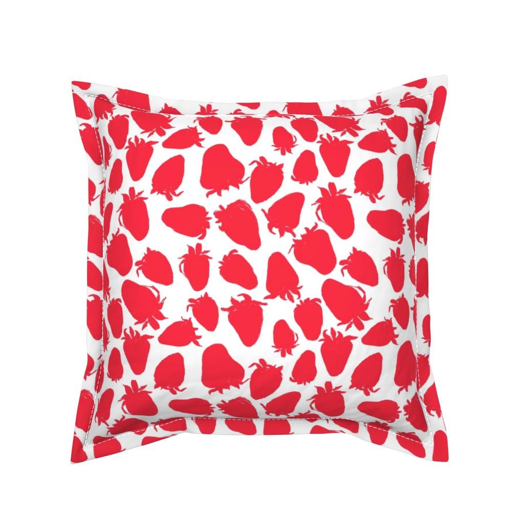 Serama Throw Pillow featuring Pretty Strawberries by ms_hey_textildesign