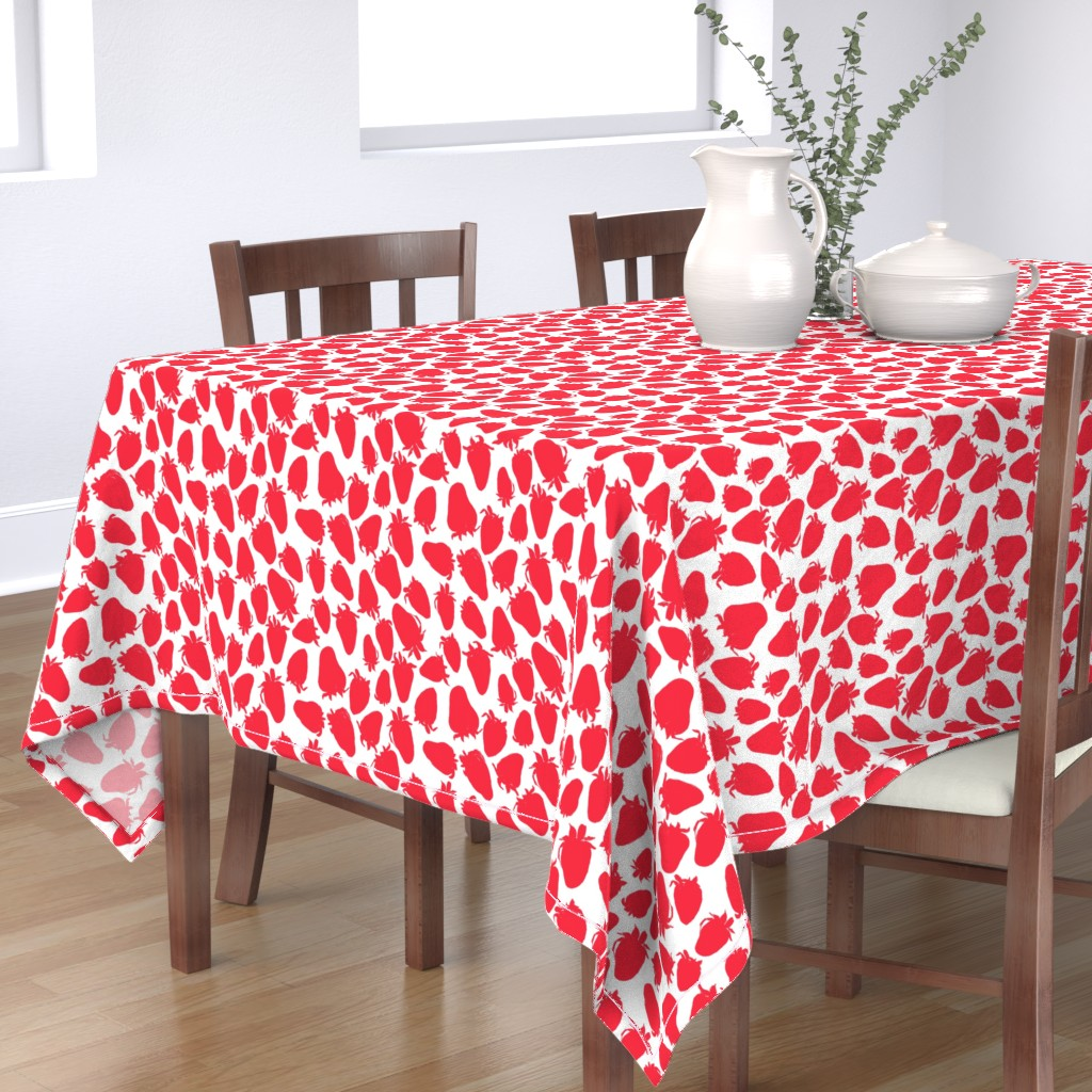 Bantam Rectangular Tablecloth featuring Pretty Strawberries by ms_hey_textildesign