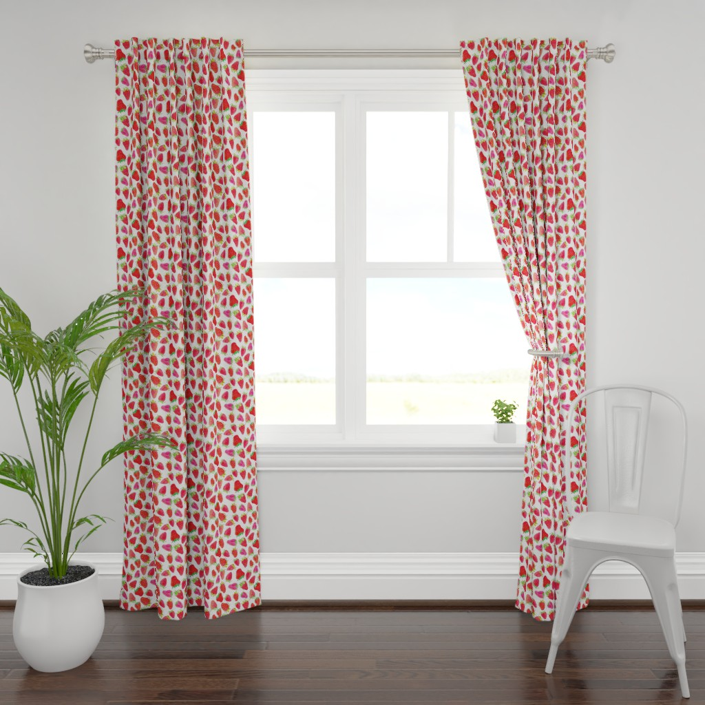 Plymouth Curtain Panel featuring Watercolor Strawberries by ms_hey_textildesign