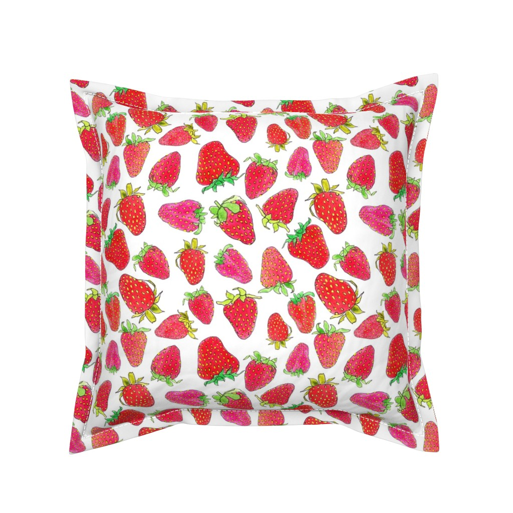 Serama Throw Pillow featuring Watercolor Strawberries by ms_hey_textildesign
