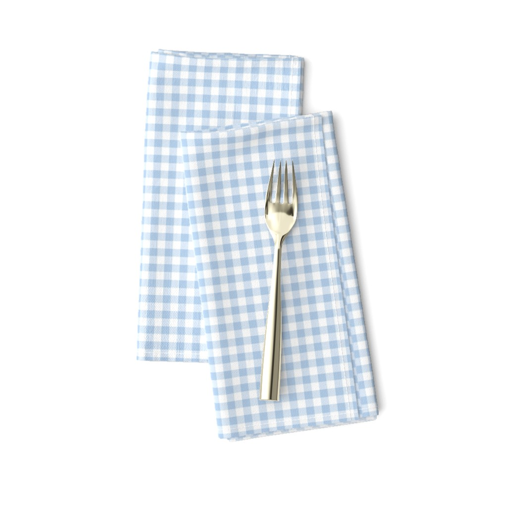 Amarela Dinner Napkins featuring foggy morning pale blue gingham by weavingmajor
