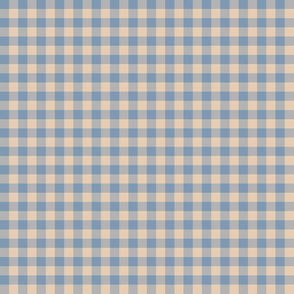 foggy morning gingham - driftwood tan and faded denim