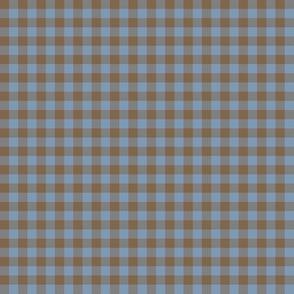 foggy evening gingham - mocha brown and denim blue