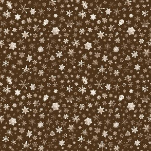 photographic snowflakes on chocolate brown - small